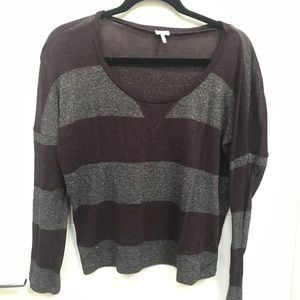 Splendid Purple Silver Glitter Stripe Cropped Top